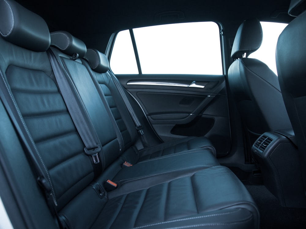 black car seat in car