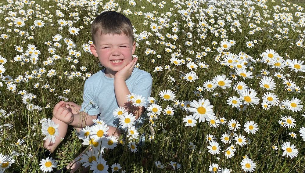 boy in blue crew neck t-shirt sitting on yellow flower field during daytime