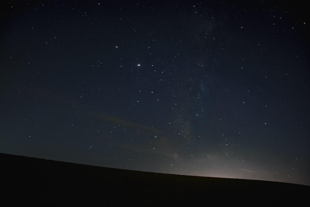 black and white starry night sky