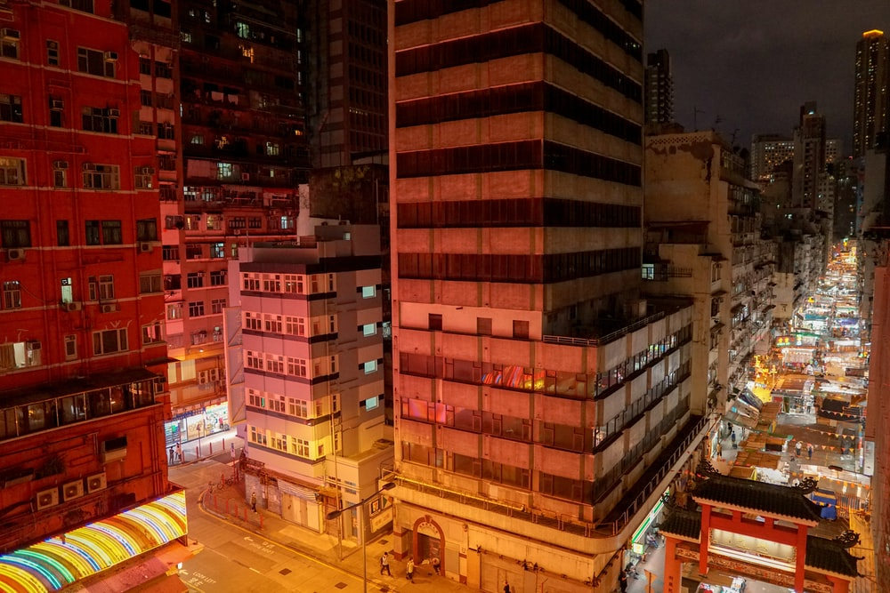 brown and black concrete building during nighttime