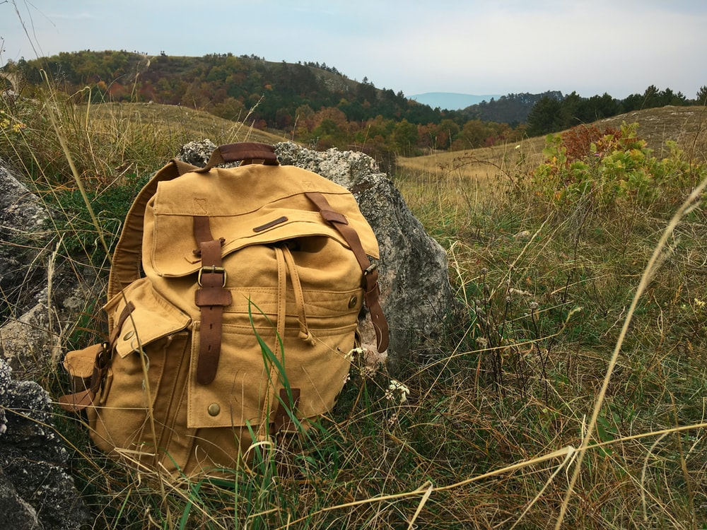brown backpack on green grass field