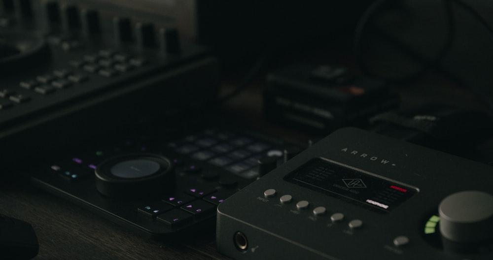 black and gray audio mixer