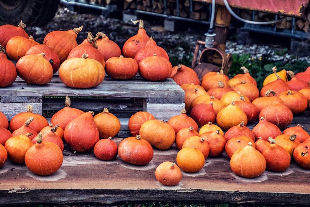 orange pumpkins on brown wooden table