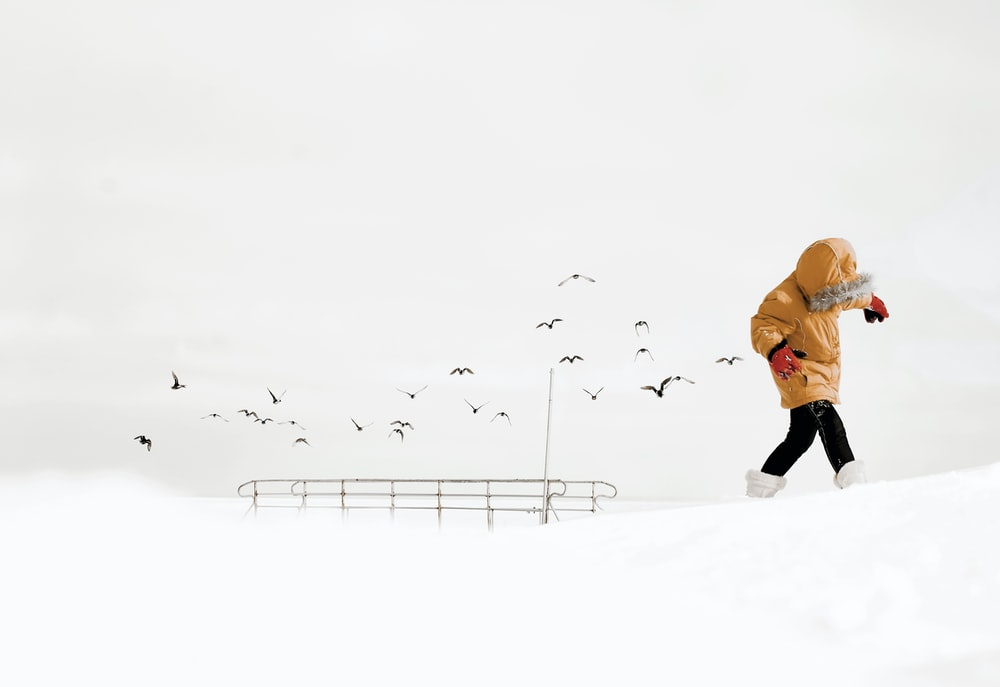 person in orange jacket and black pants walking on snow covered ground during daytime