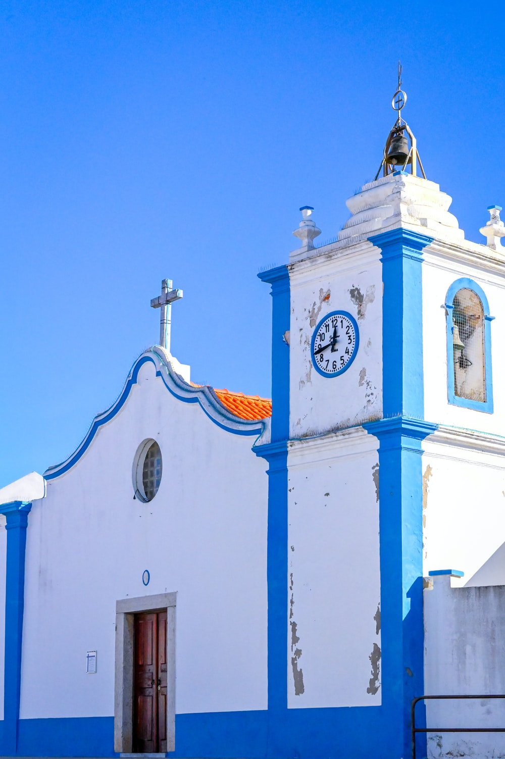 white and blue concrete church
