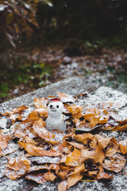 snowman figurine on brown dried leaves