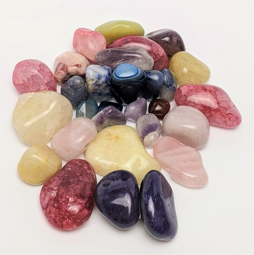 yellow pink blue and purple stones
