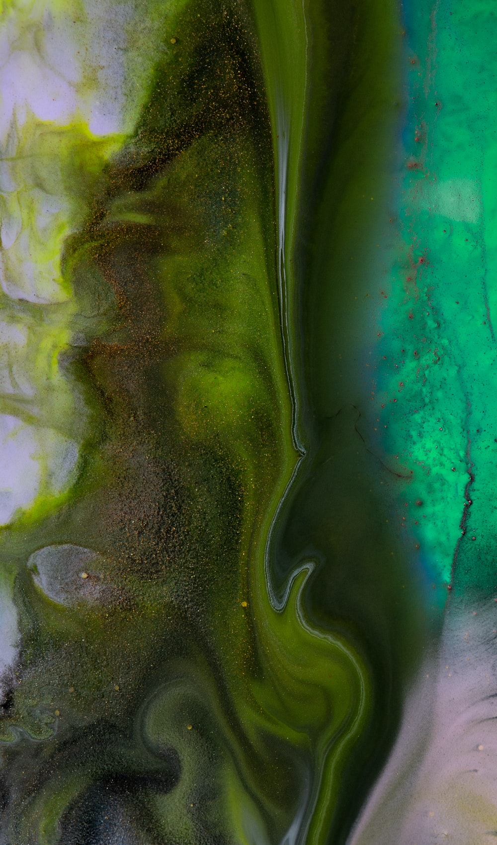 green and white abstract painting