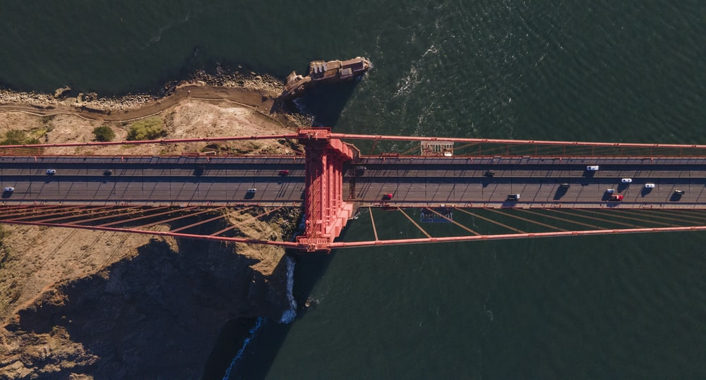 aerial view of bridge over water