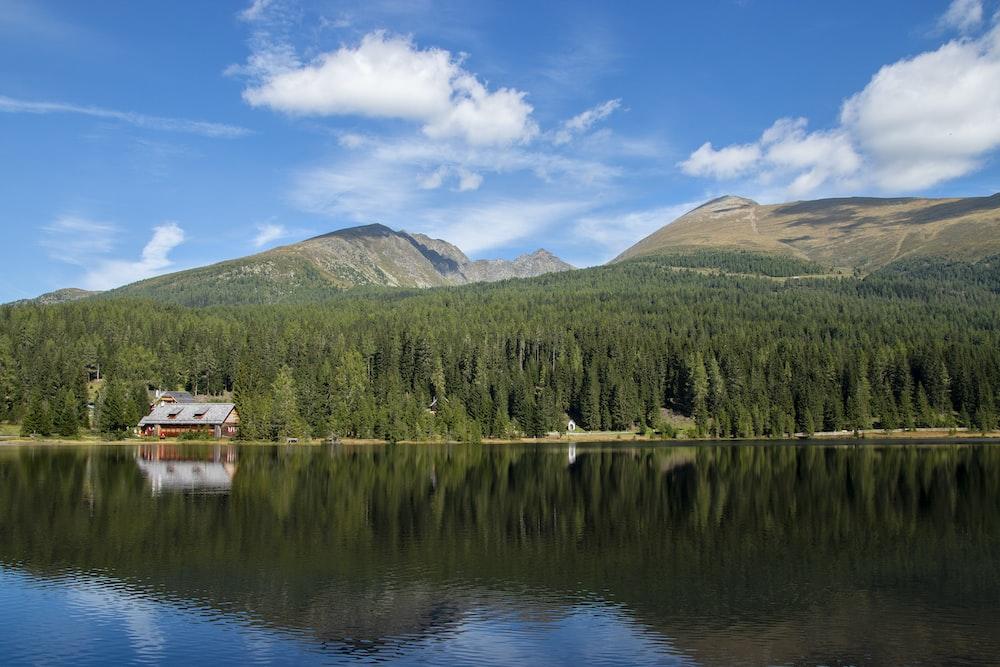 green mountain beside lake under blue sky during daytime