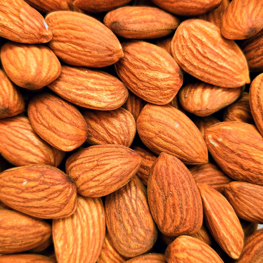 brown almond nut lot in close up photography