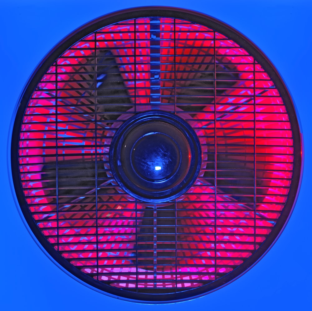 red and white box fan