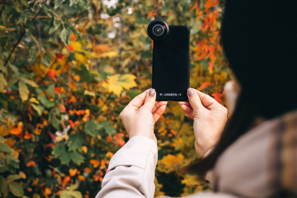 person holding black and gray camera
