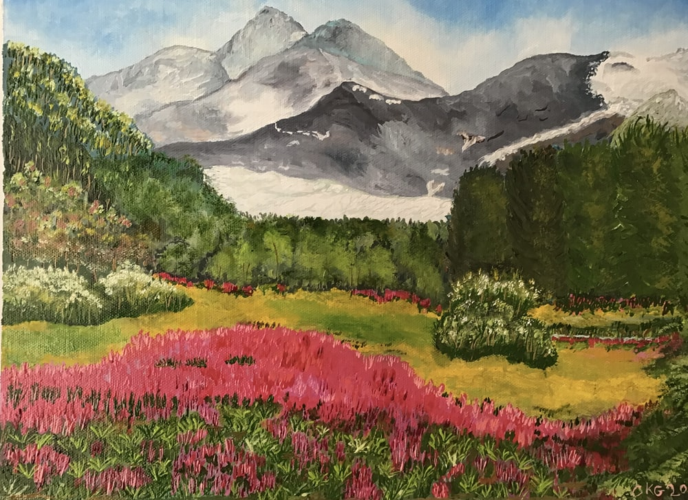 pink flower field near mountain during daytime