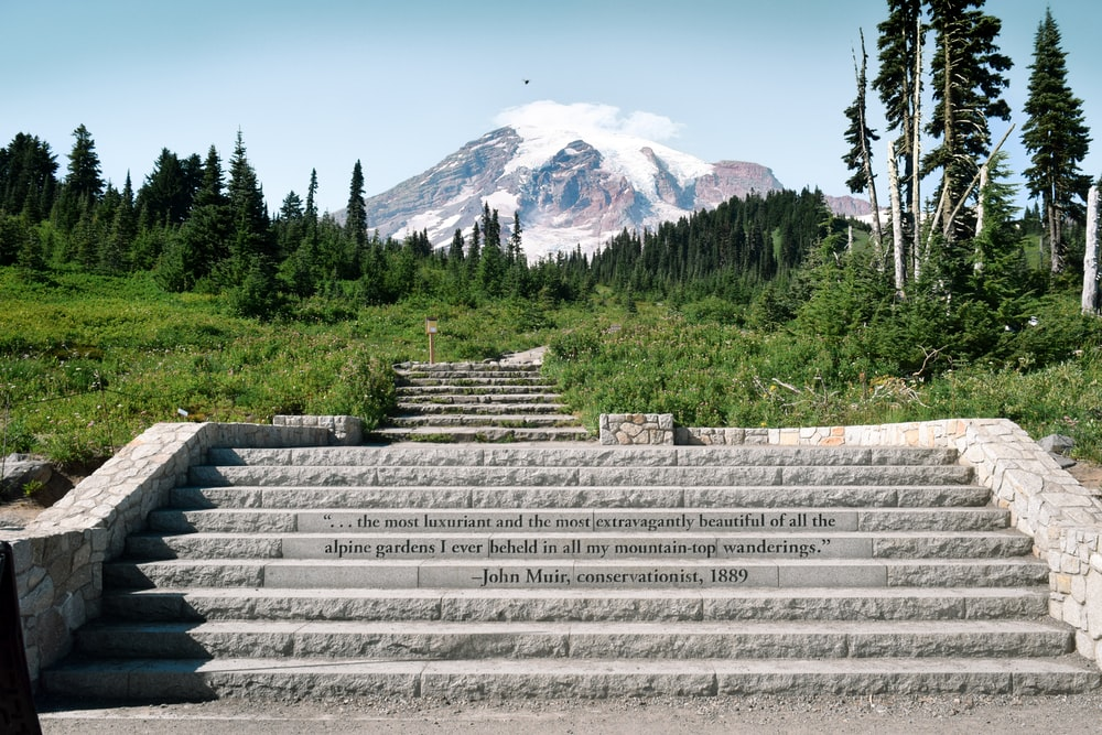 gray concrete blocks near green trees and mountain during daytime