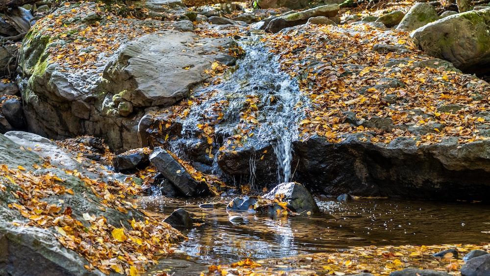 water falling on rocks during daytime