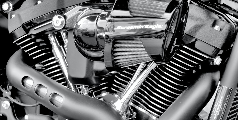 silver and black motorcycle engine