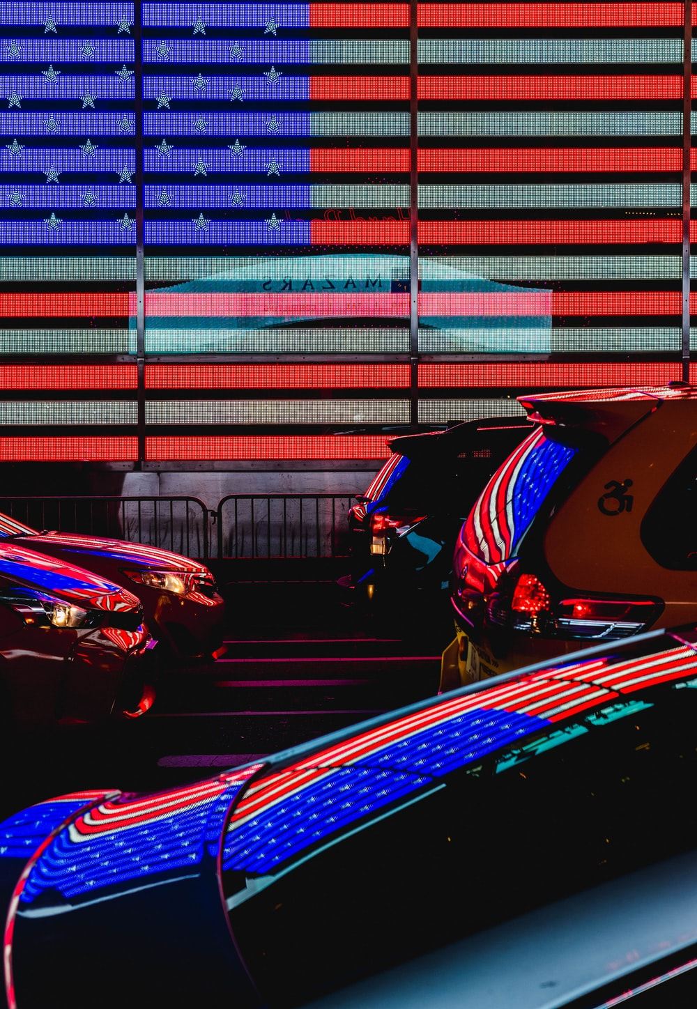 red and blue sports car