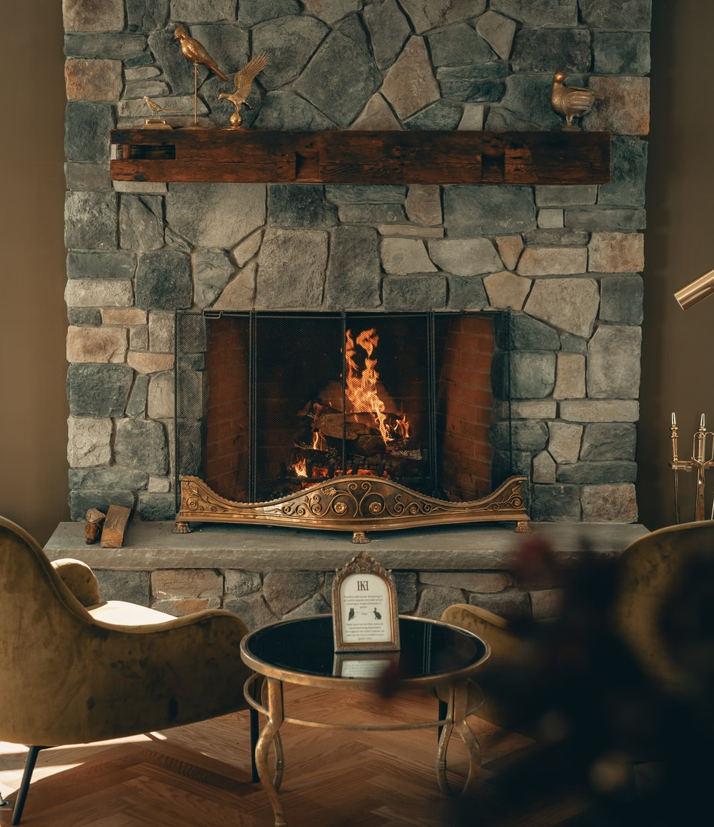 brown and white fireplace with fireplace