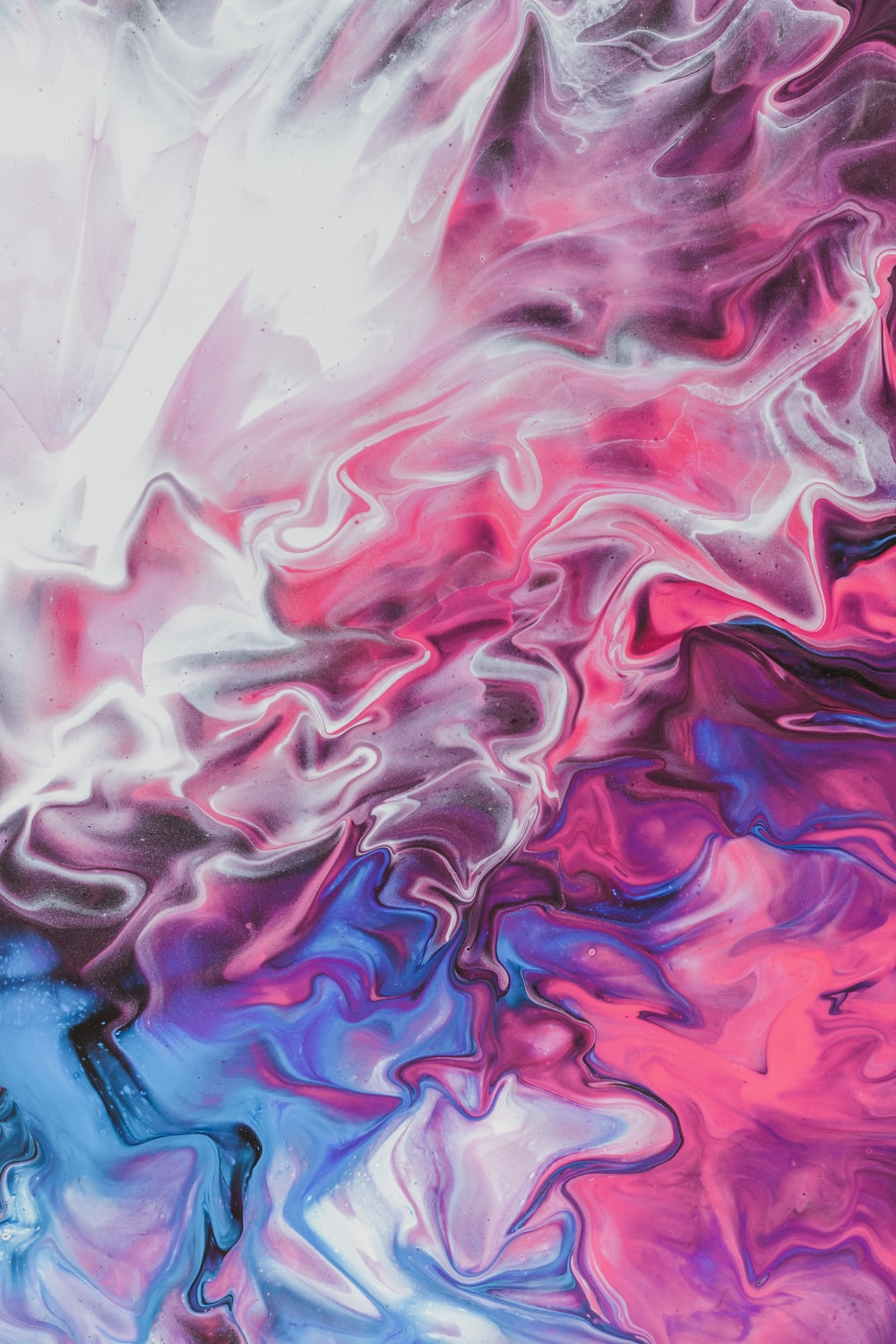 blue white and pink abstract painting