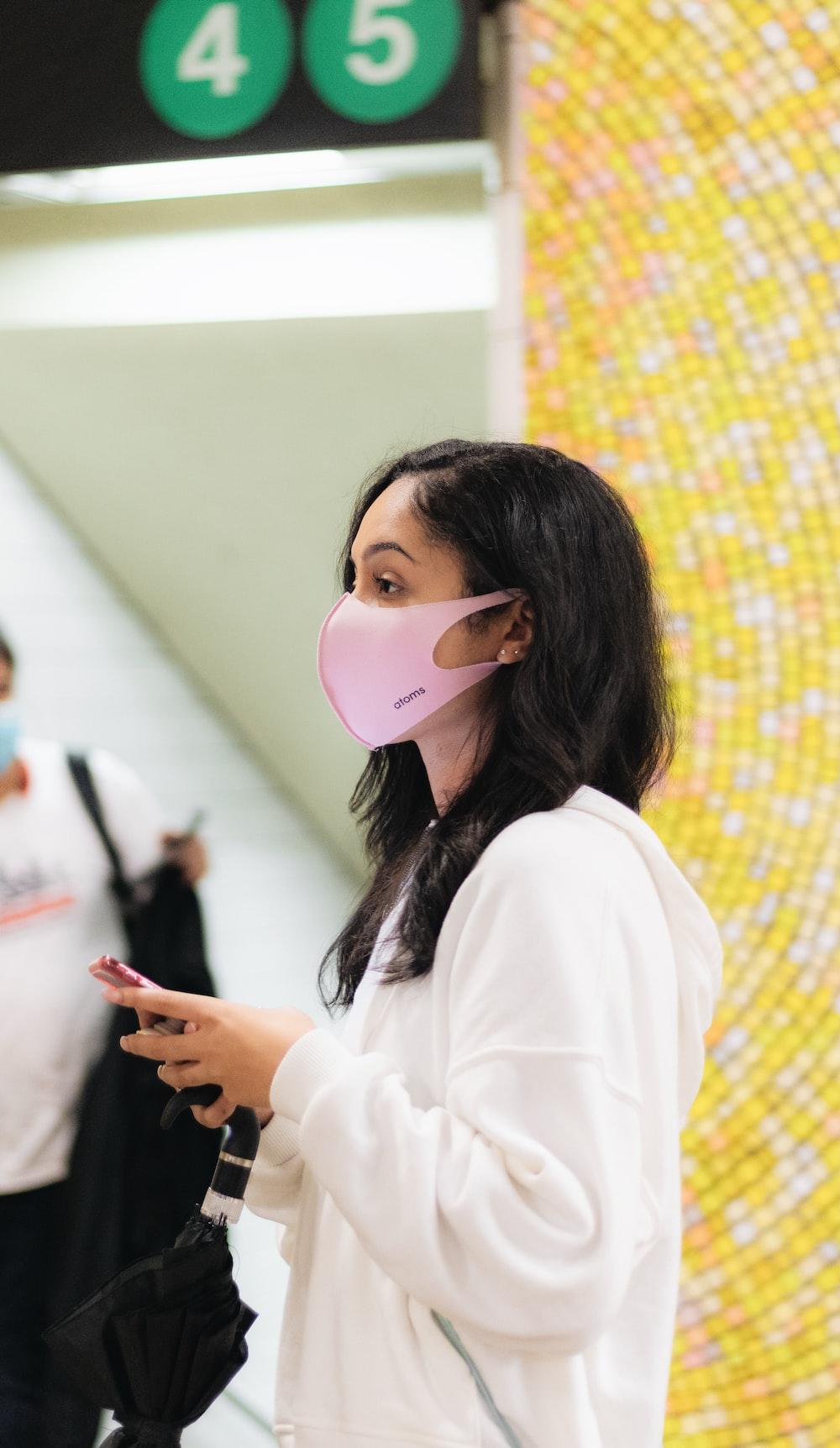 woman in white long sleeve shirt wearing white mask