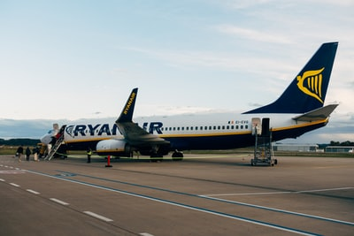 Ryanair Boeing 737 at the German Memmingen Airport in Bavaria