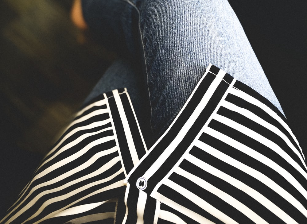 black and white striped button up shirt