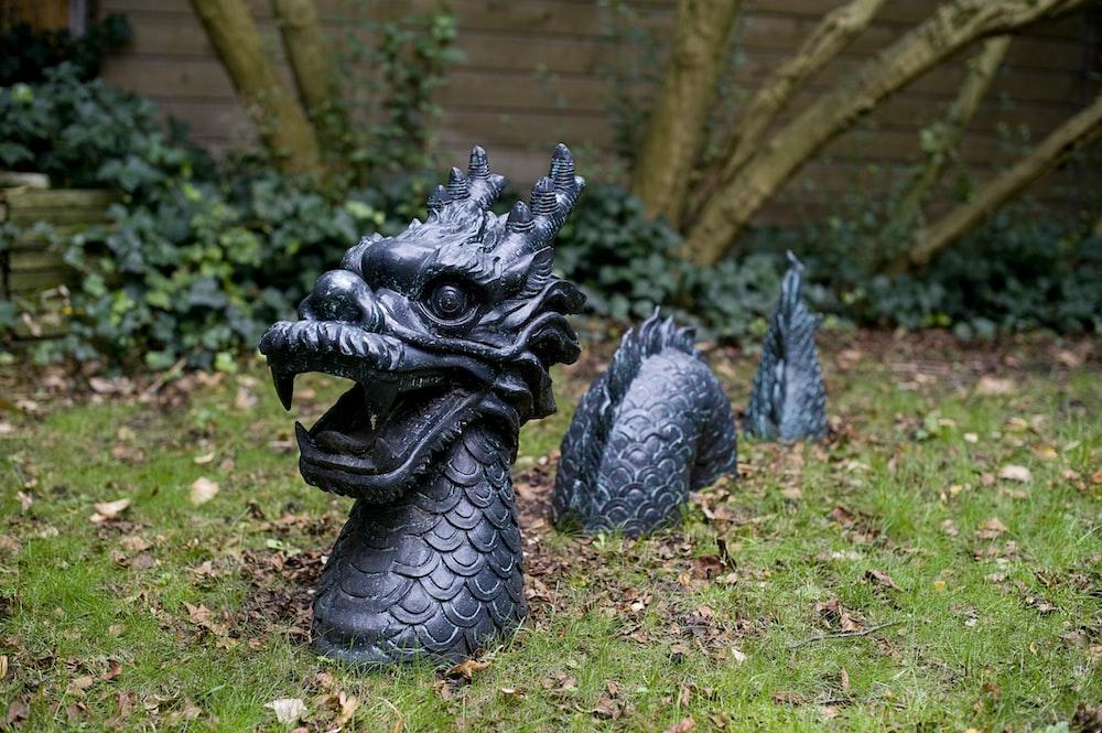 black dragon statue on green grass field
