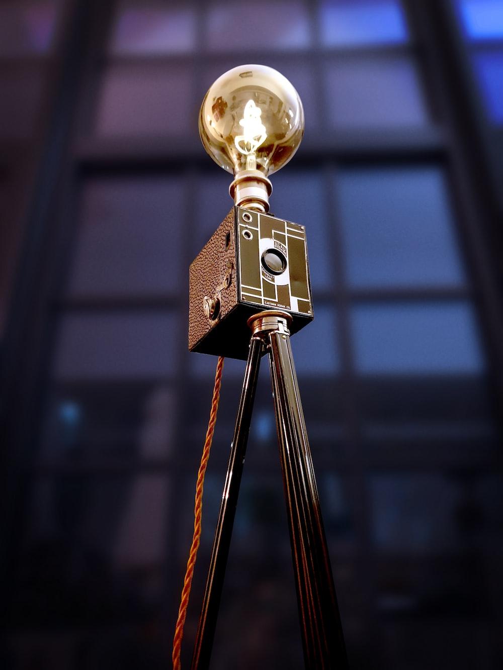 brown and black pendant lamp