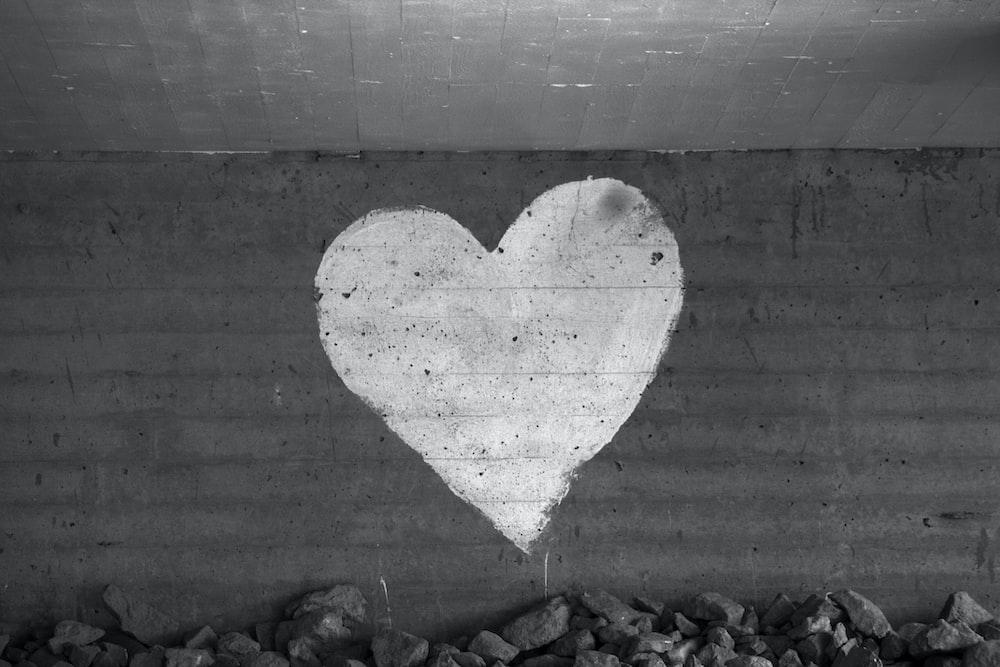 heart shaped concrete wall with heart shaped shadow