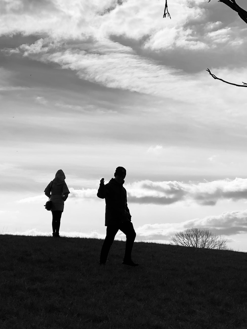silhouette of 2 person standing on grass field under cloudy sky during daytime