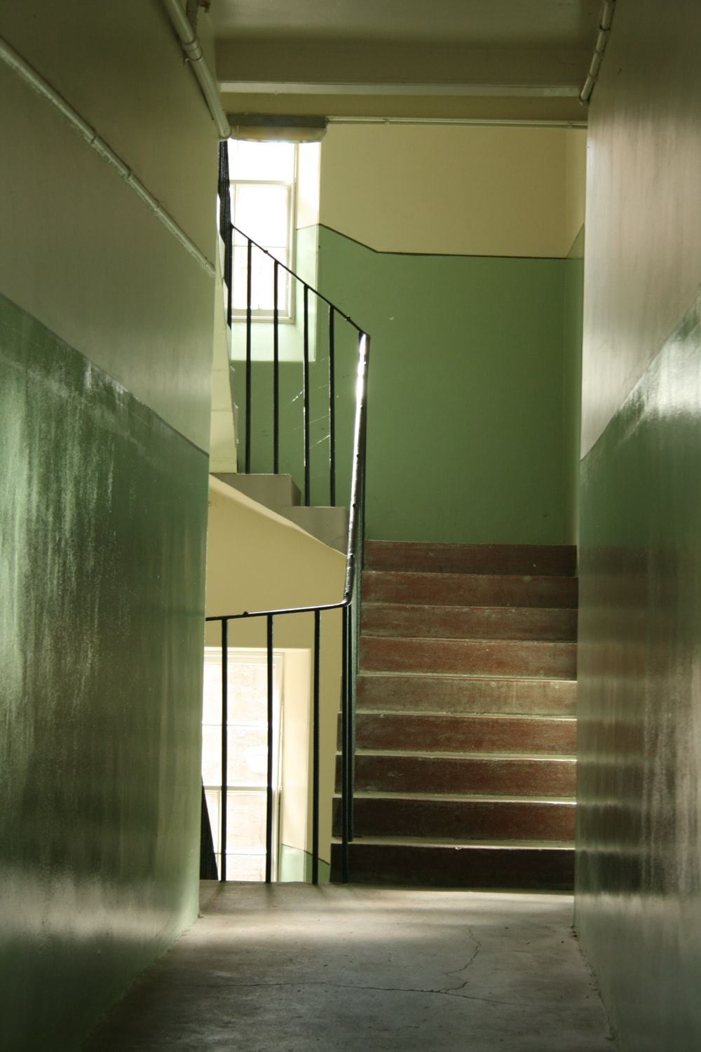 green and yellow concrete staircase