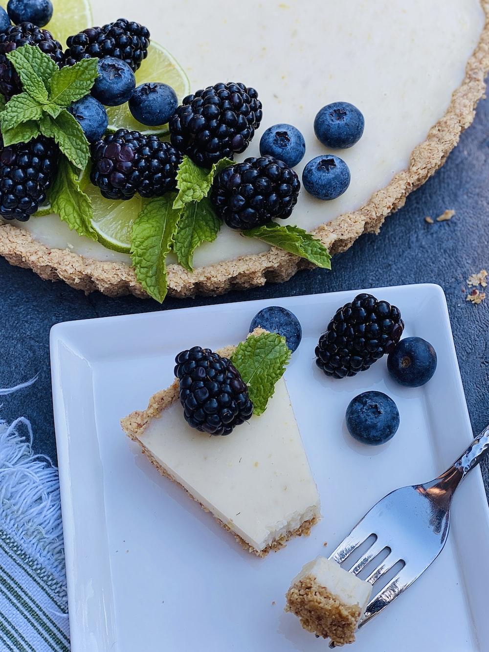 blue berries on white ceramic plate
