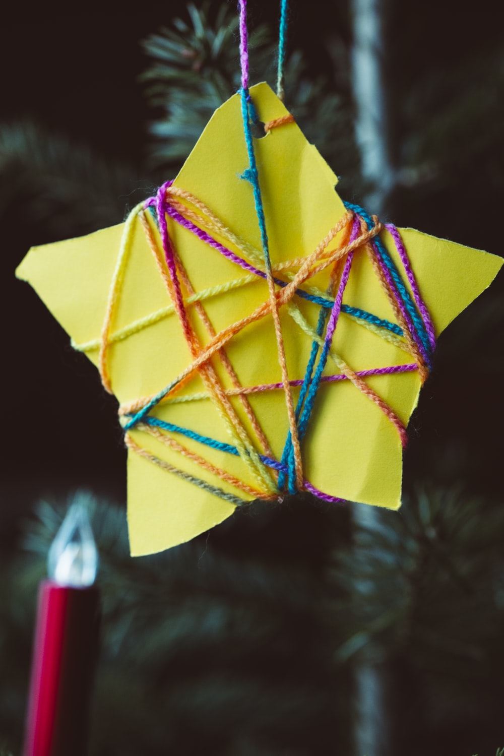yellow blue and red paper umbrella
