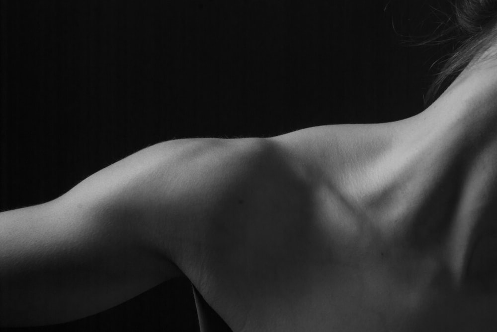 grayscale photo of naked woman