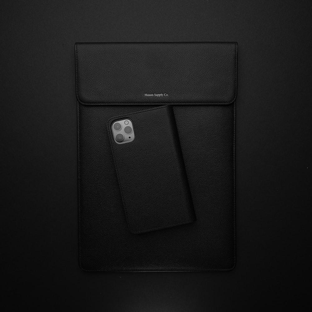 black leather smartphone flip case