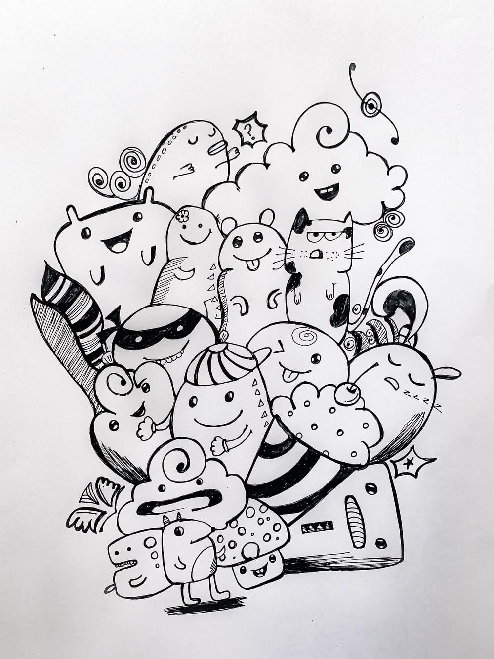 black and white dog illustration