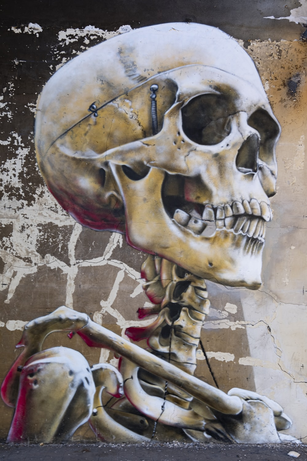 white skull with red and black hat painting