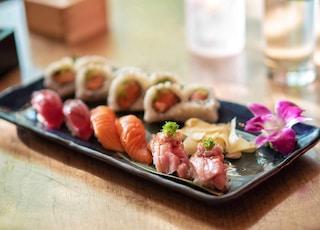 sushi on rectangular white ceramic plate