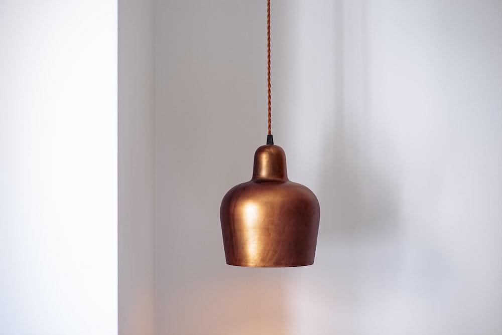 brown pendant lamp turned off