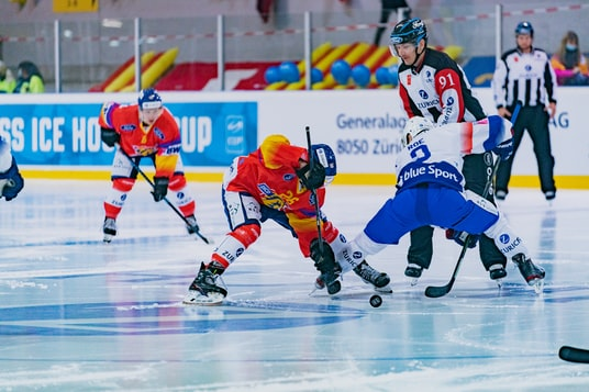 2 men in ice hockey jersey playing