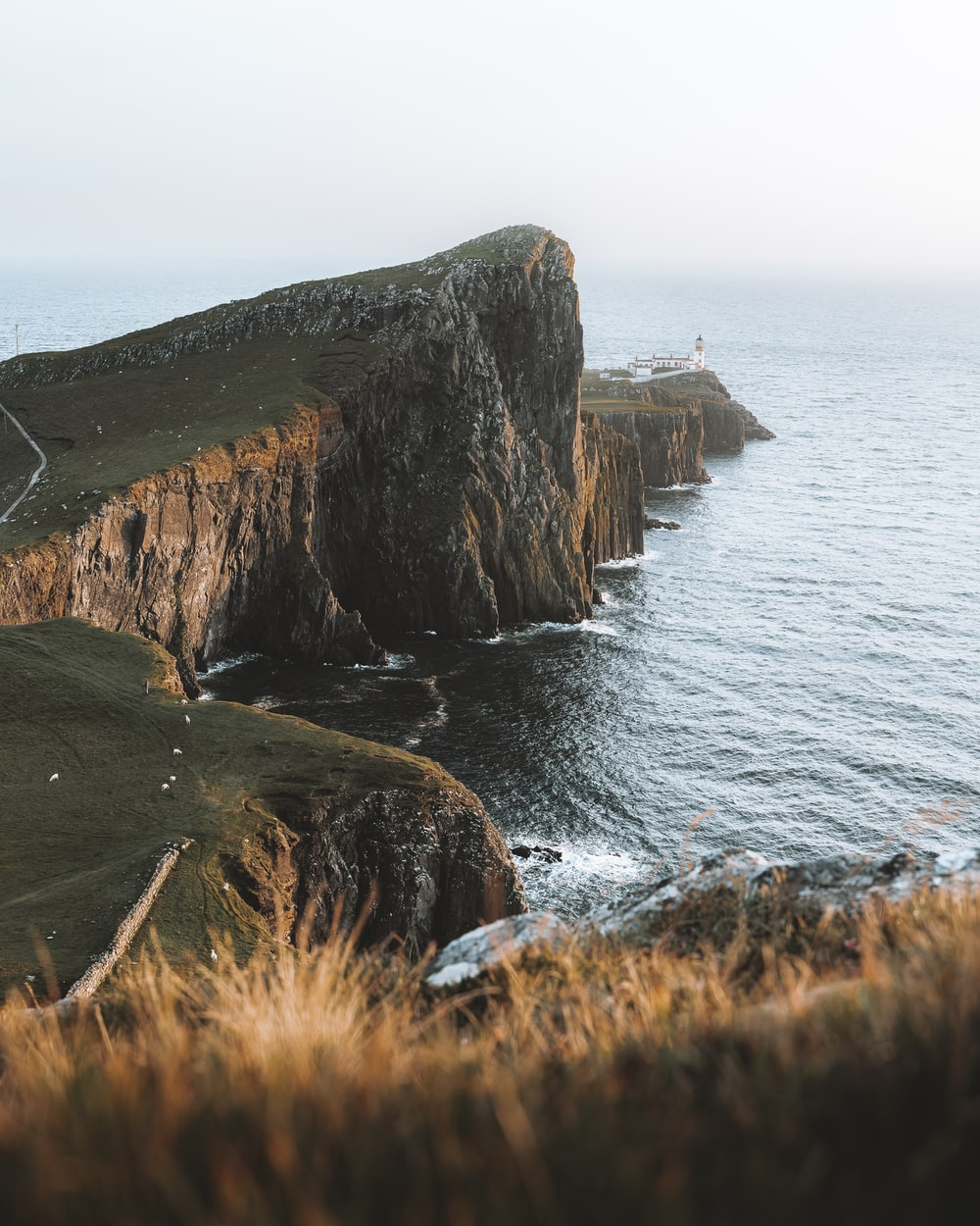 brown and green rock formation beside sea during daytime