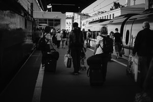 People on the station platform. The train has arrived from Moscow.