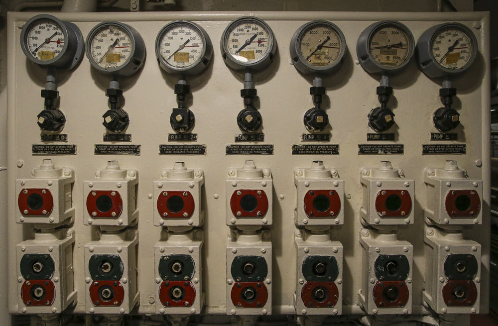 white and red electric meter