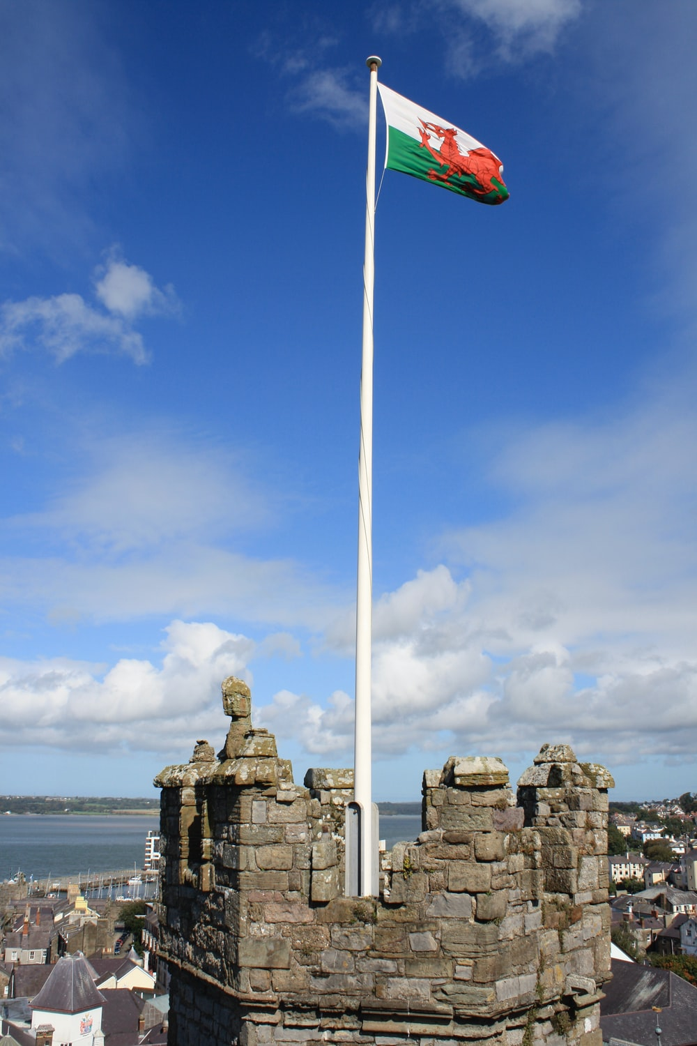 white and blue flag on top of gray rock formation near body of water during daytime
