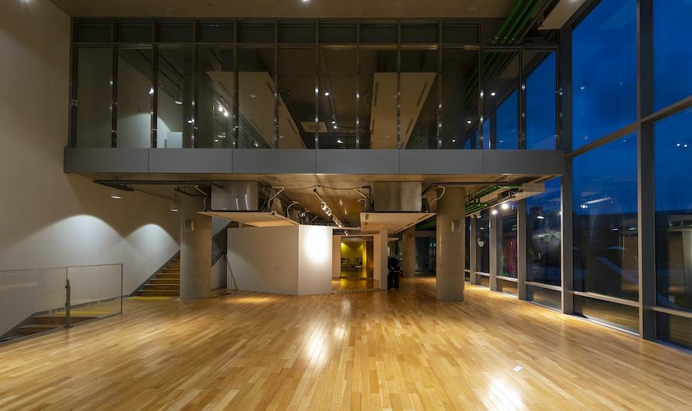 brown wooden parquet floor inside building