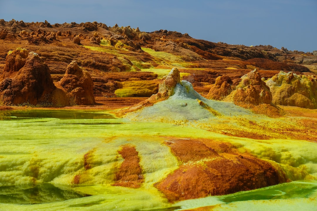 Ethiopia, Danakil Depression of Dallol (place of the Spirits). 155 Meters Below Sea Level, One of the Most Fascinating and Inhospitable Places On Earth Due To the Temperature and Above All the Exhalations of Potassium Chloride Salts and Acidic Waters. Her - unsplash