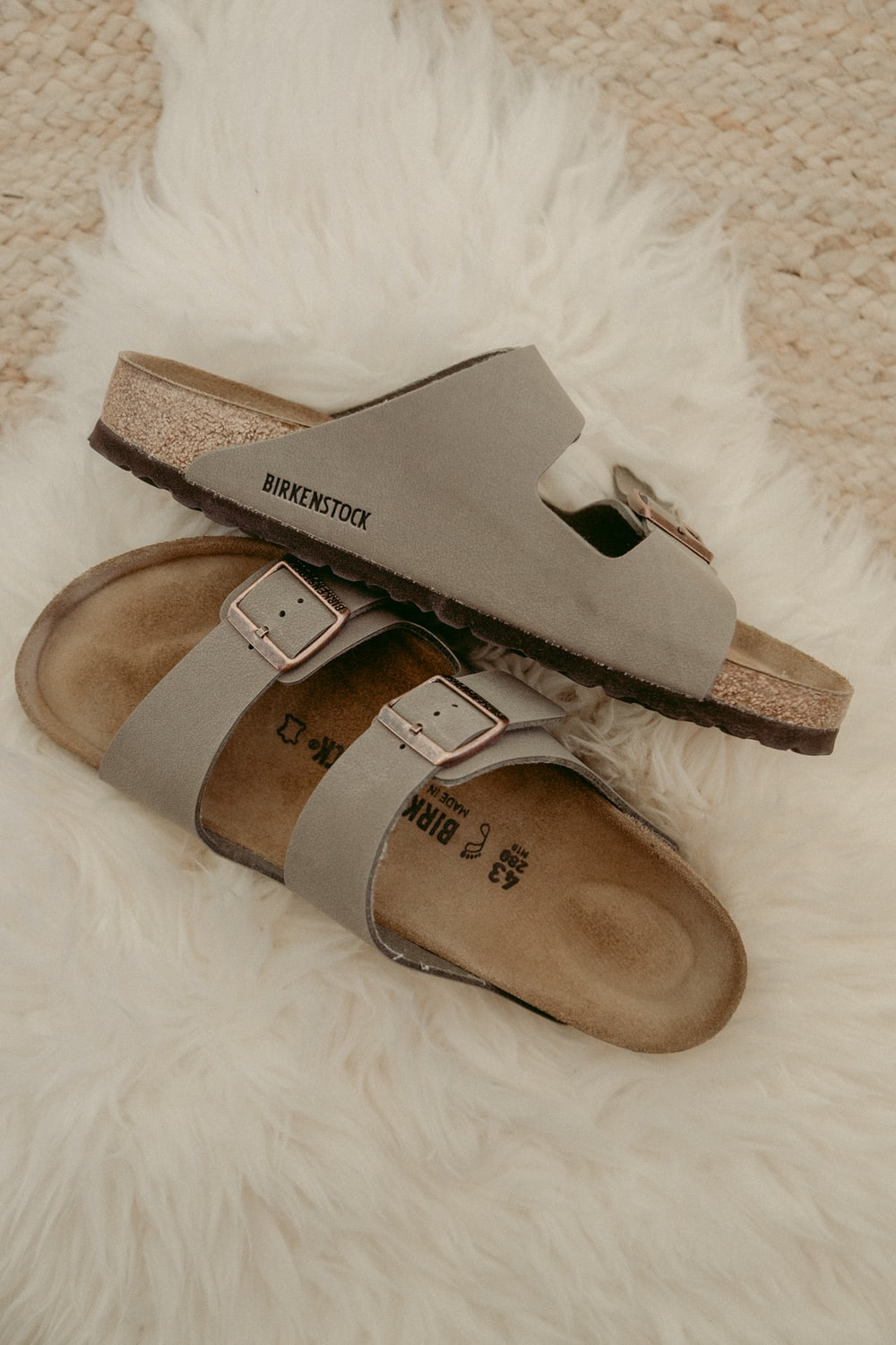 brown and gray slide sandals