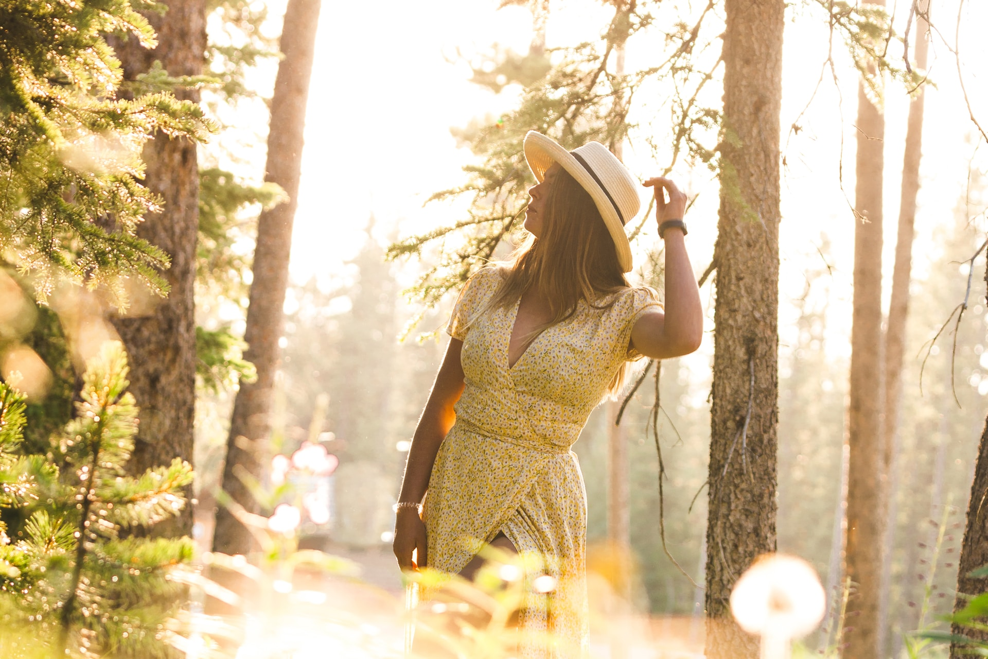 woman in black and brown dress standing in forest during daytime