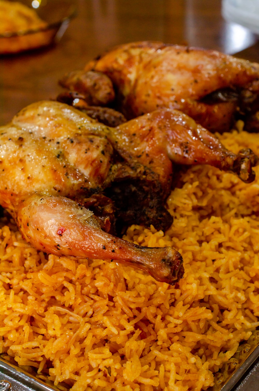 fried chicken on yellow rice